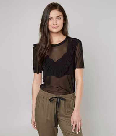 grehy Sheer Ruffle Top