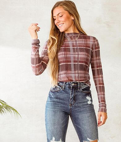 Willow & Root Plaid Mesh Knit Top