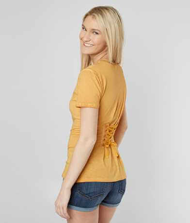 Gilded Intent Lace-Up Back T-Shirt