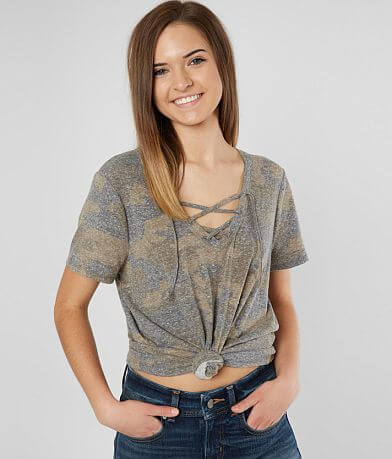 BKE Camo Lace-Up T-Shirt