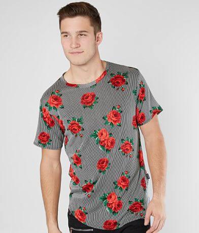 Nova Industries Striped Floral Long Body T-Shirt