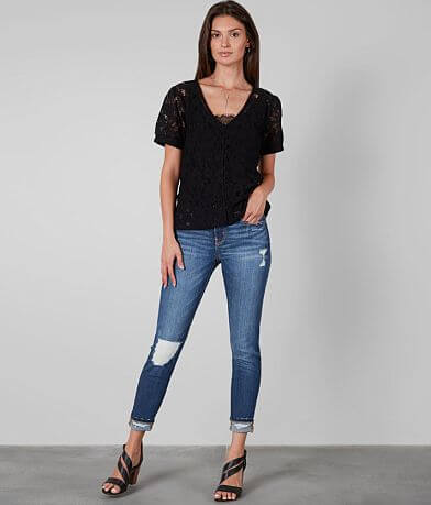 Buckle Black Lace Blouse