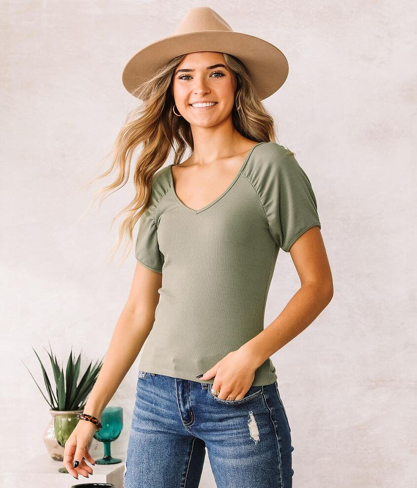 Willow & Root Puff Sleeve Ribbed Knit Top front view