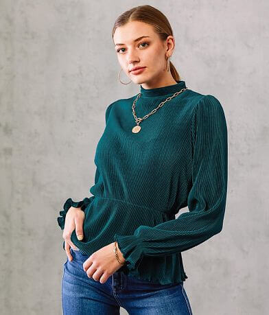 Willow & Root Pleated Mock Neck Top