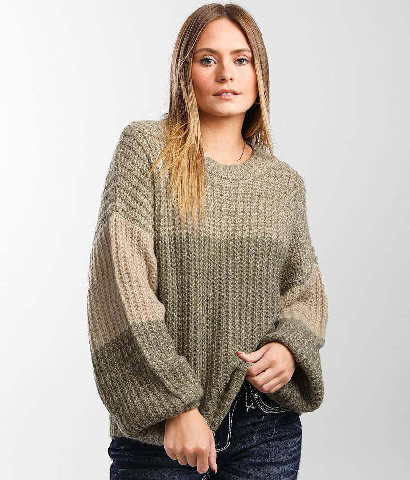 BKE Marled Color Block Sweater front view
