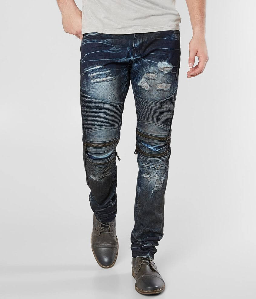R.sole Oil Washed Moto Skinny Stretch Jean front view