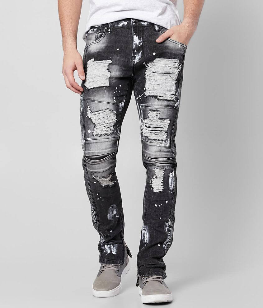R.sole Washed Moto Skinny Stretch Jean front view