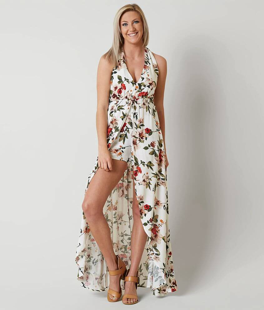 1f8e97376d7 Daytrip Floral Halter Maxi Romper - Women s Rompers Jumpsuits in ...