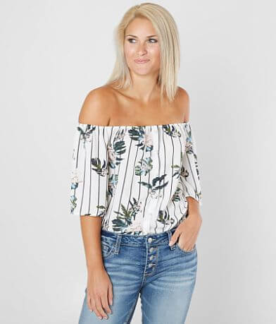 Daytrip Striped Off The Shoulder Top