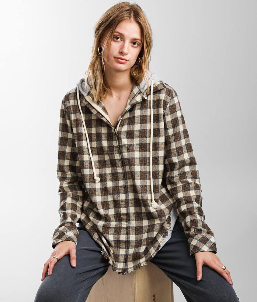 Gilded Intent Hooded Flannel Shirt front view