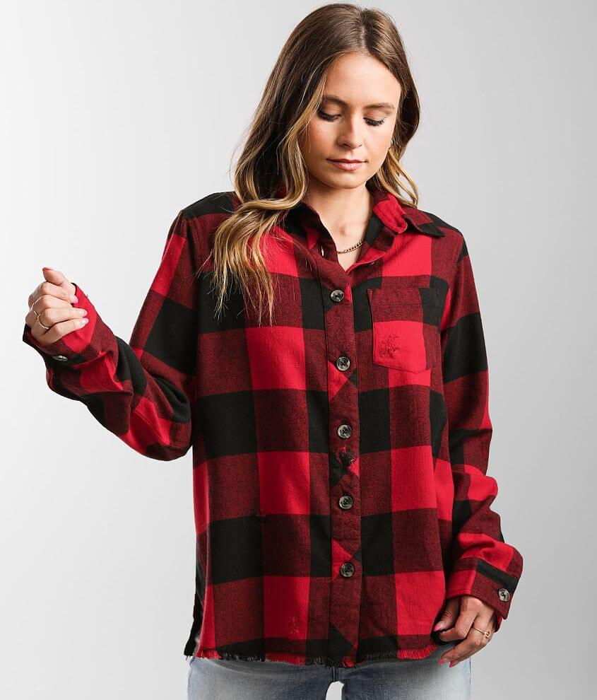 BKE Destructed Flannel Shirt front view