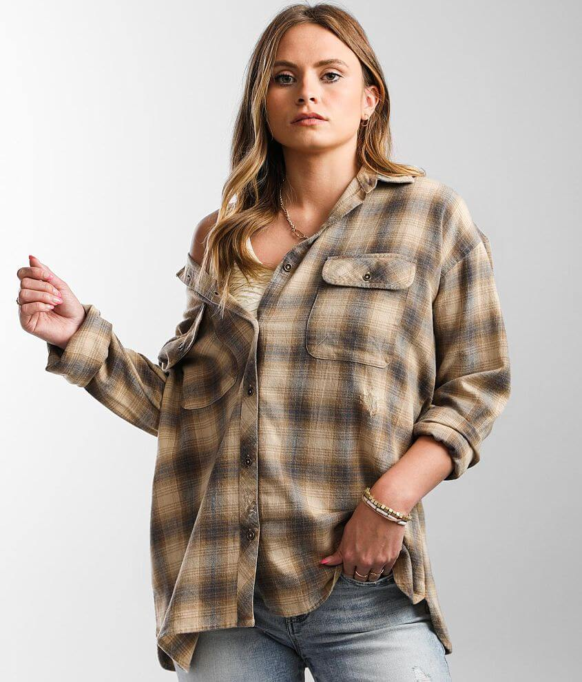 Gilded Intent Destructed Plaid Shirt front view