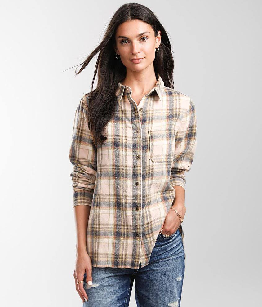BKE Washed Flannel Shirt front view