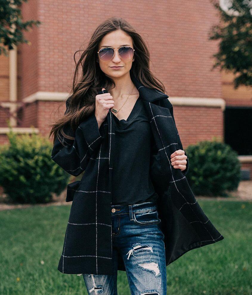 46ea7051076 Me Jane Grid Pattern Pea Coat - Women s Coats Jackets in Black Ivory ...