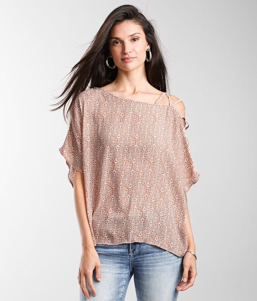Buckle Black Cold Shoulder Chiffon Top front view