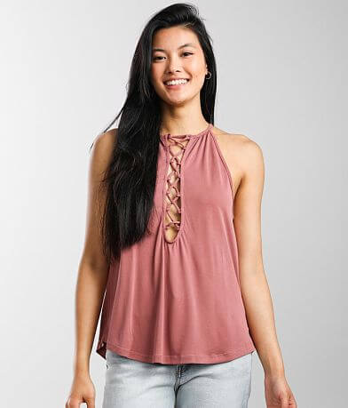 red by BKE High Neck Lace-Up Tank Top
