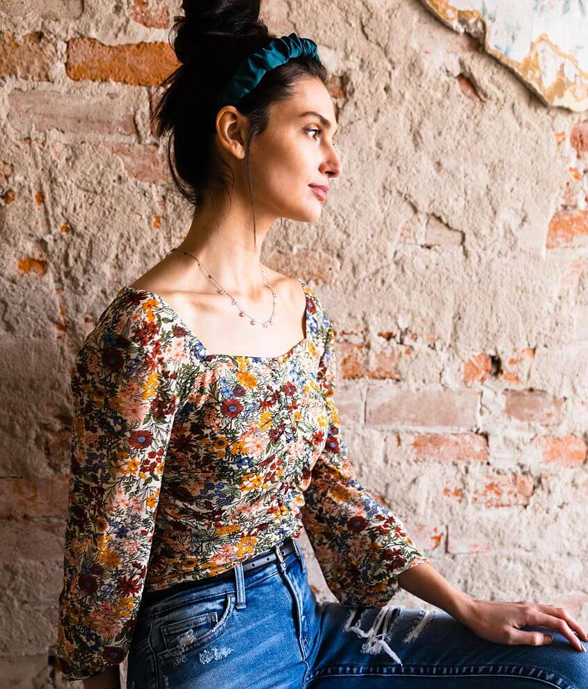 Gimmicks Square Neck Floral Ruched Top front view