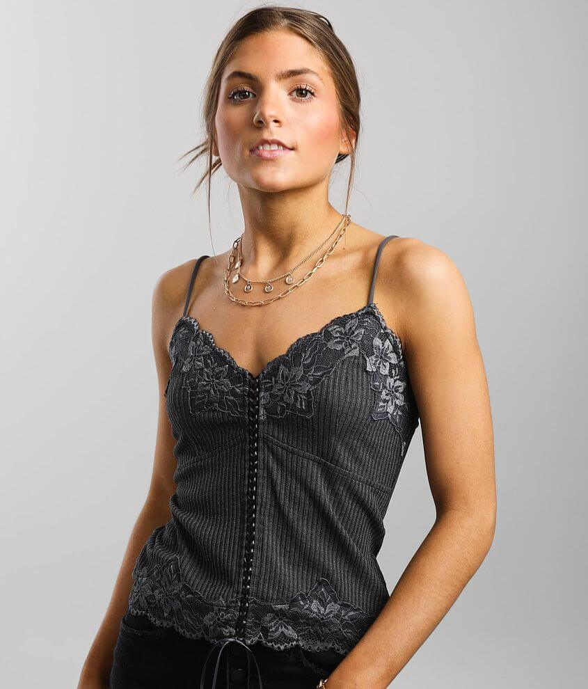 red by BKE Ribbed Lace-Up Tank Top front view