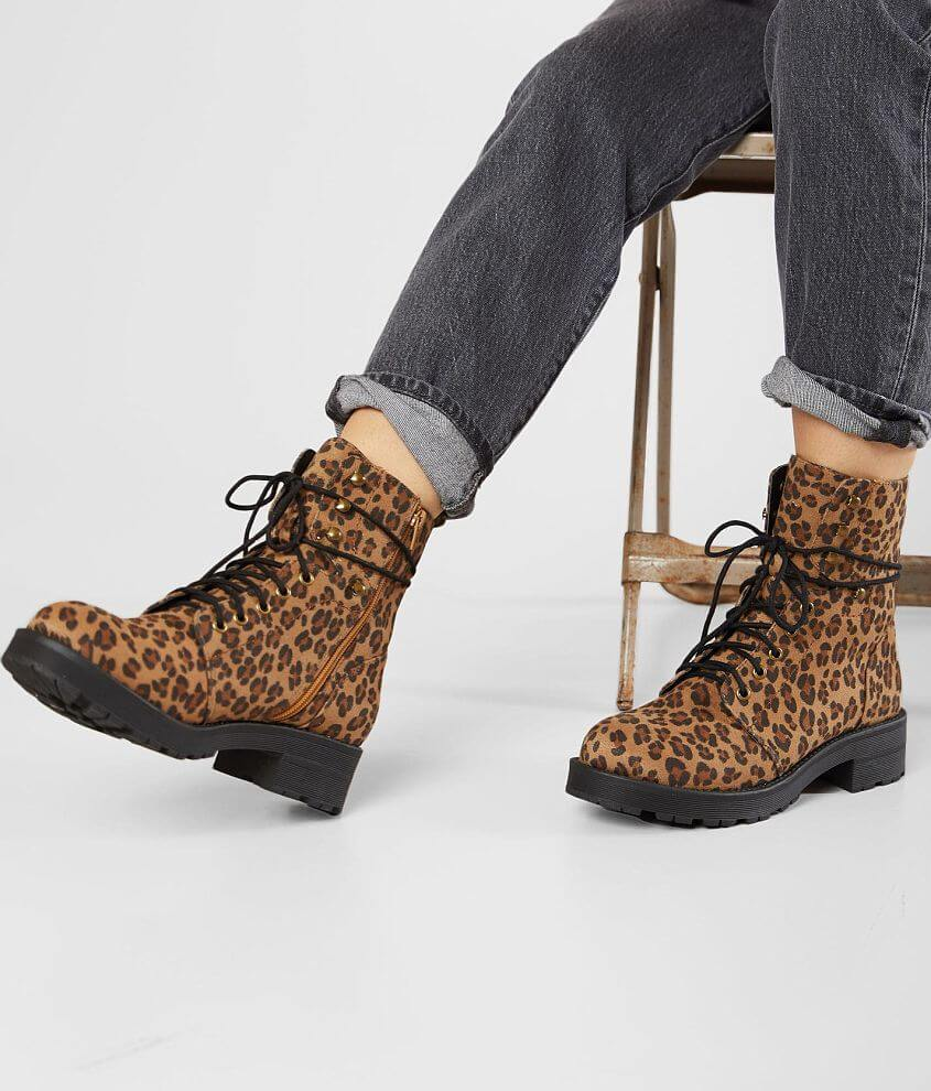 Printed lace-up boot Cushioned footbed Side zip detail 6\\\