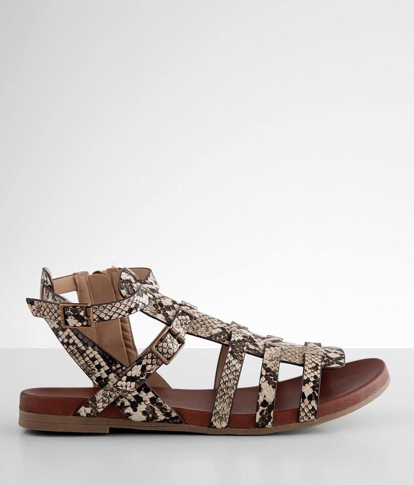 Faux leather snake print strappy sandal Adjustable ankle strap Side zip detail