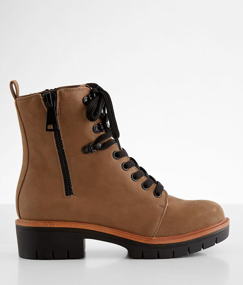 Faux leather lace-up boot Side zip details Anatomically cushioned footbed 6 1/2\\\