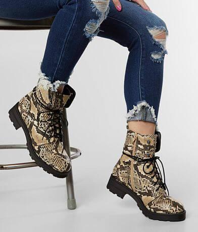 Mia Miki Snake Print Combat Boot