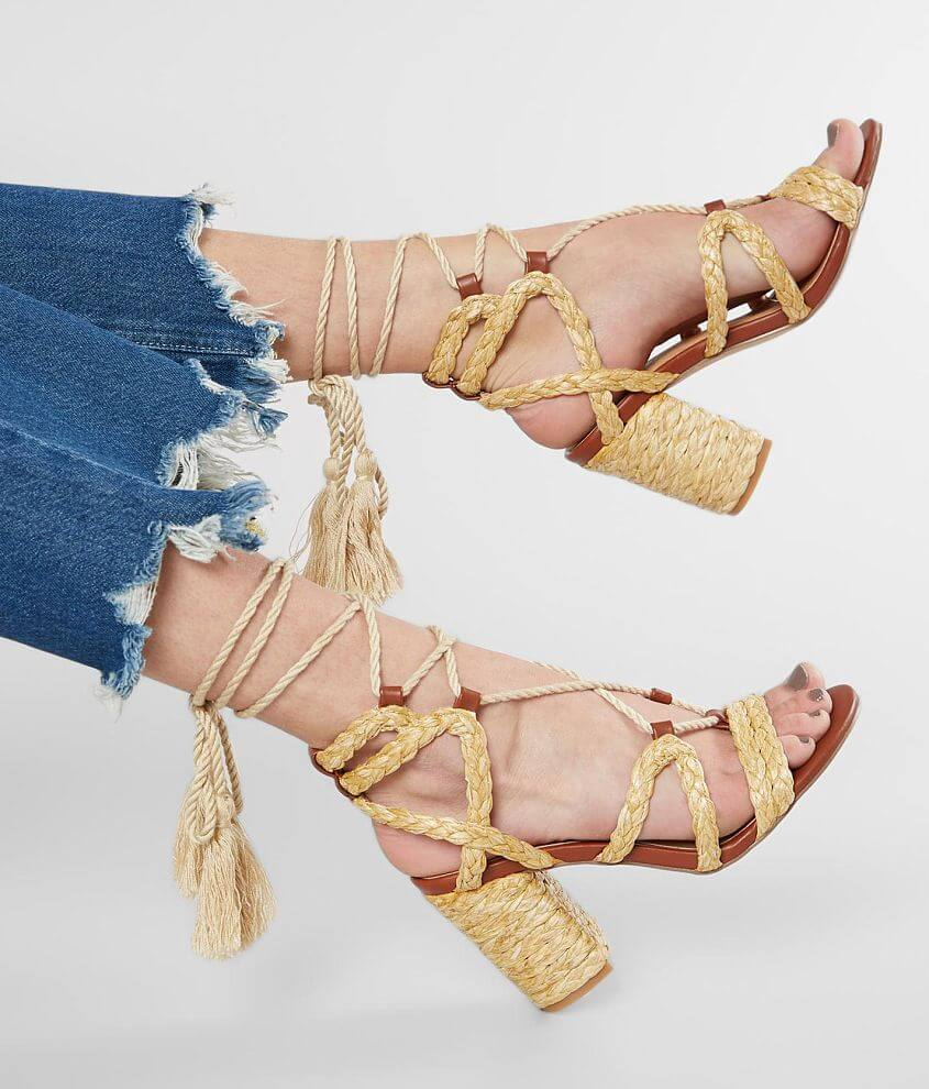 Strappy braided lace up sandal 3 3/4\\\