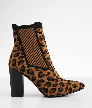 Mia Leopard Sock Ankle Boot