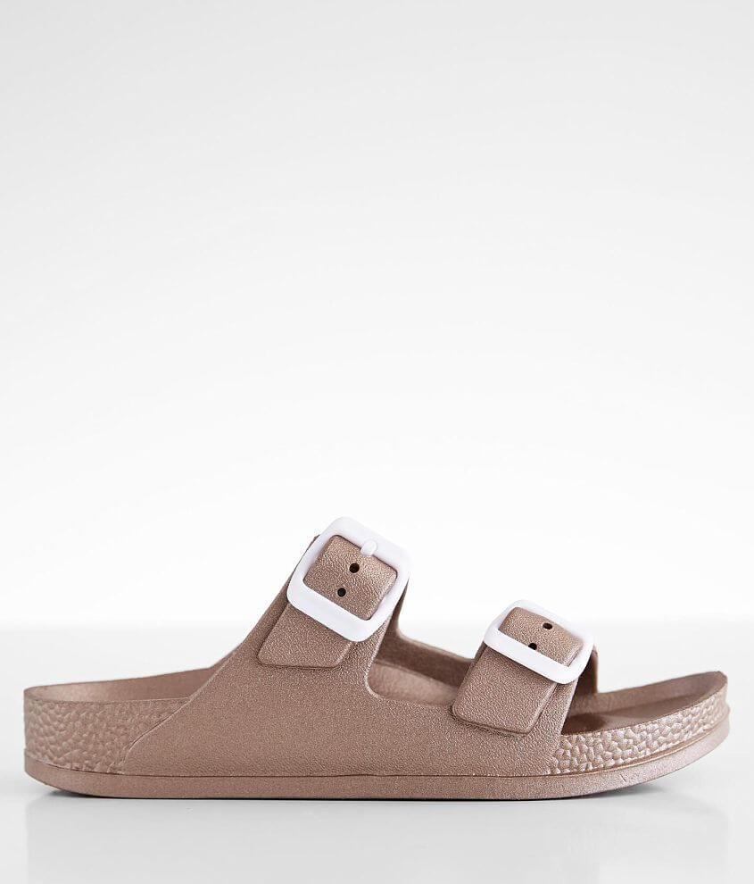 Metallic double strap sandal