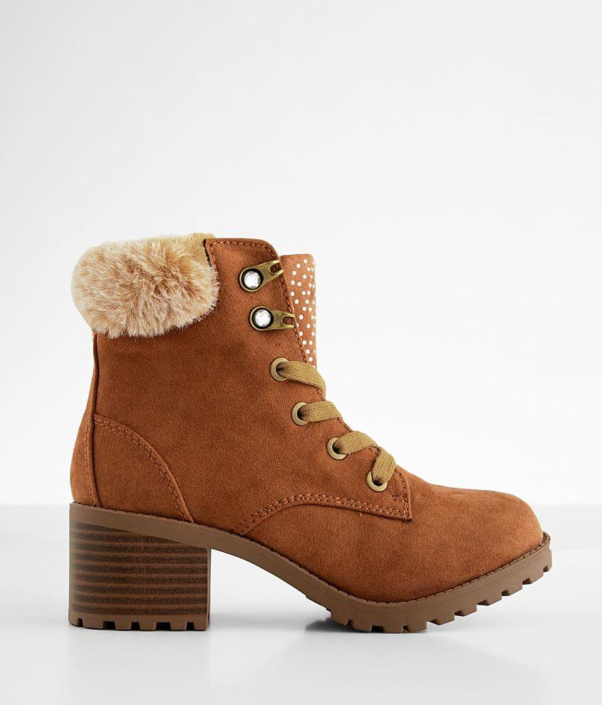 Faux leather lace-up side zip boot Fuzzy faux fur collar Rhinestone details Cushioned footbed 4 1/2\\\