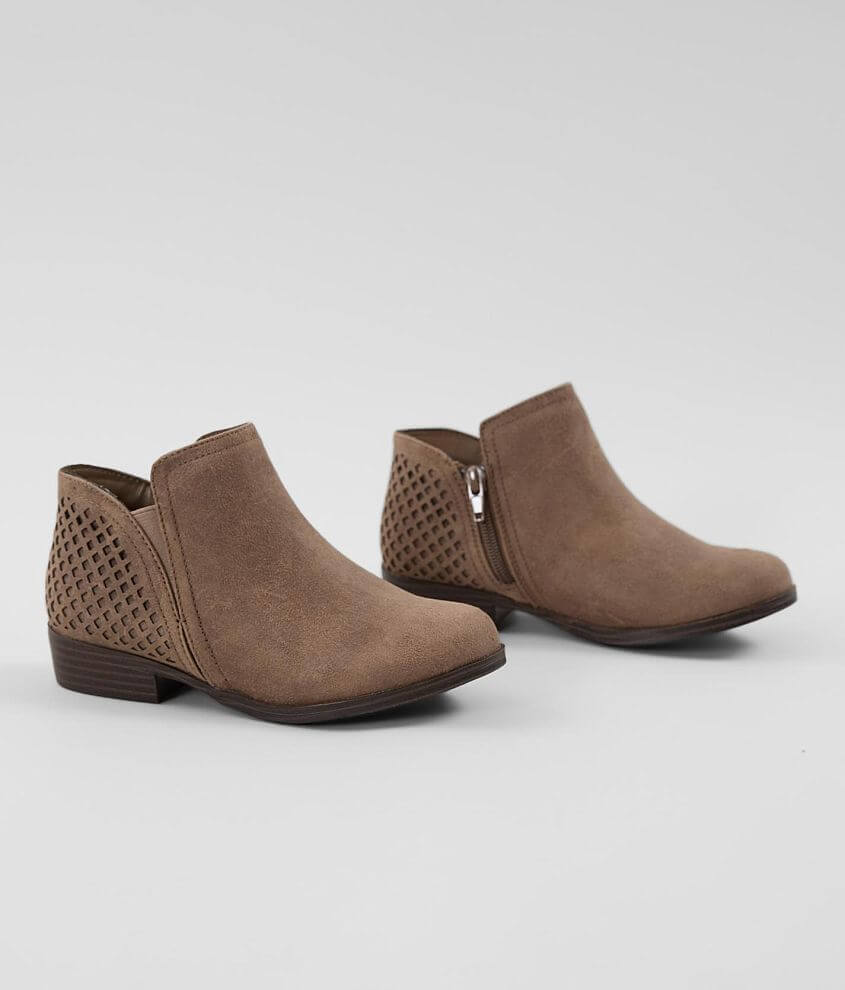 Faux leather laser cut bootie Cushioned footbed Side zip and elasticized inset details 1\\\