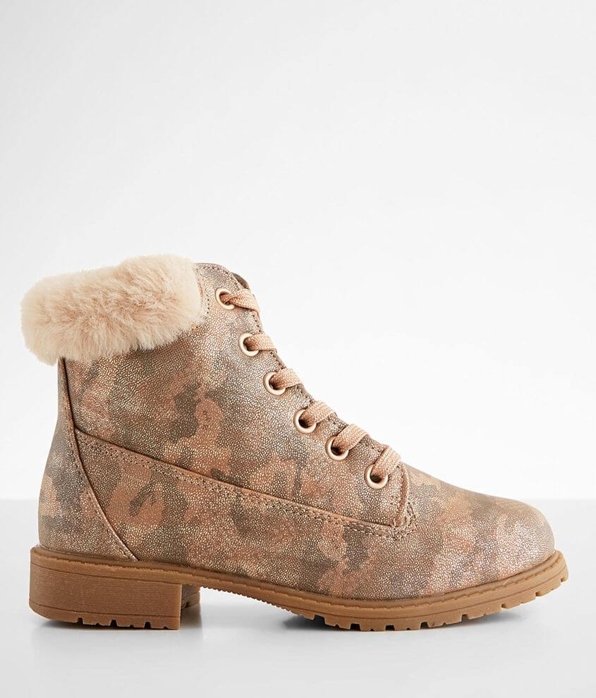 Printed faux leather lace-up bootie Side zip detail Faux fur collar Lightly cushioned footbed 4 1/2\\\