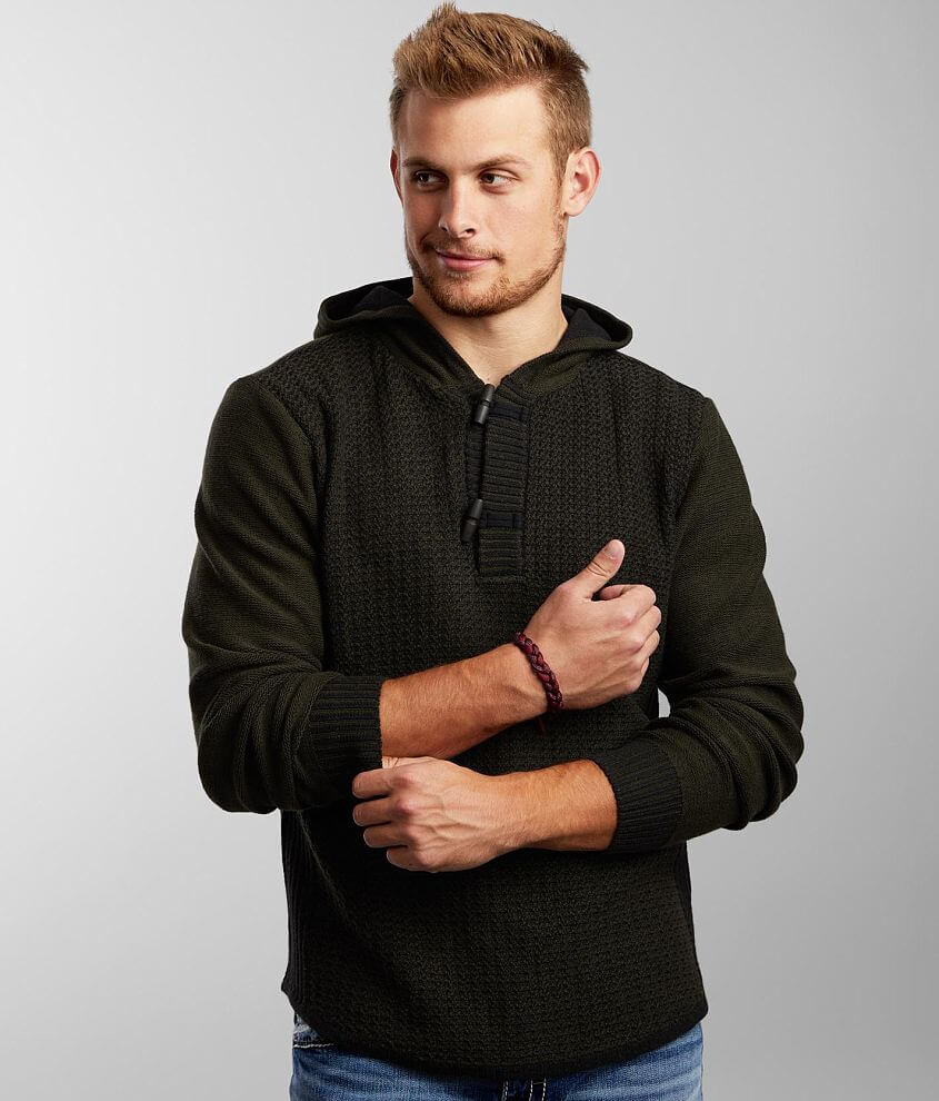 BKE Summit Hooded Toggle Henley Sweater front view
