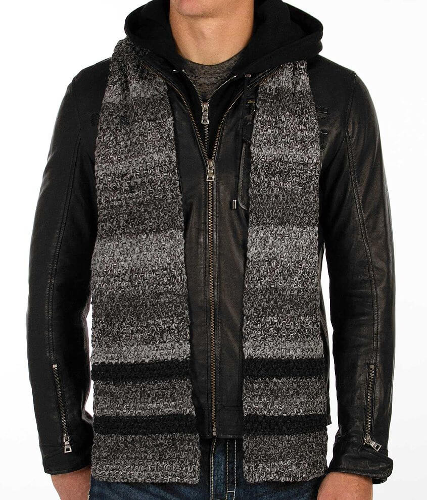 Buckle Black Striped Scarf front view