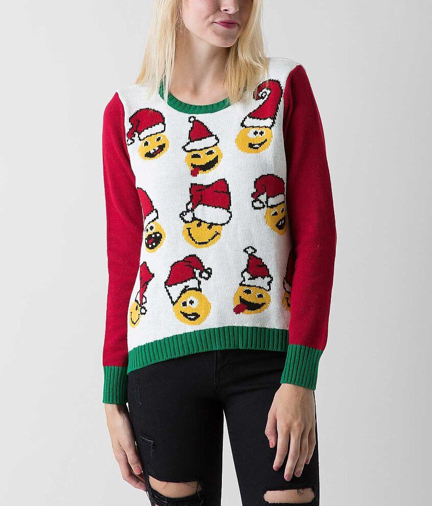 Ugly Christmas Sweater Emoji Sweater front view
