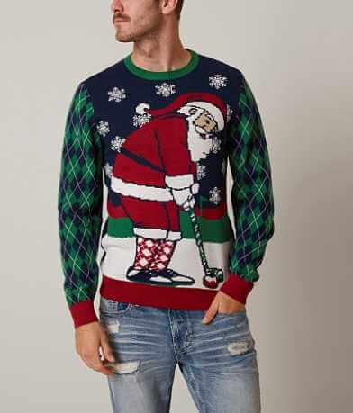Ugly Christmas Sweater Golfing Santa Sweater