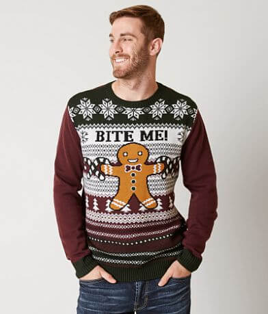 Ugly Christmas Sweater Bite Me Gingerbread Sweater