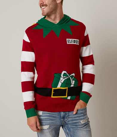 Ugly Christmas Sweater Elf Hooded Sweater