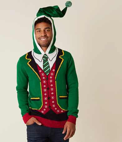 Ugly Christmas Sweater Elf Suit Hooded Sweater