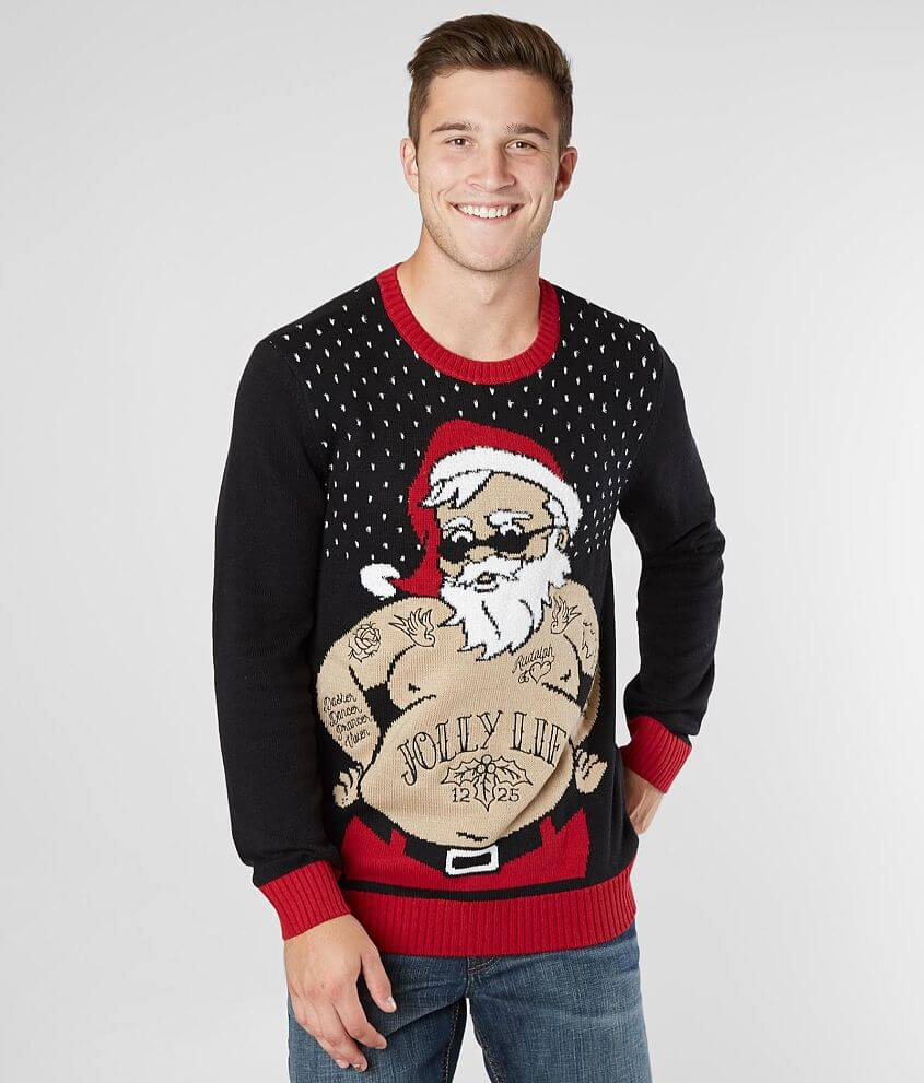 a8cf3649c16 Ugly Christmas Sweater Jolly Life Sweater - Men s Sweaters in Black ...