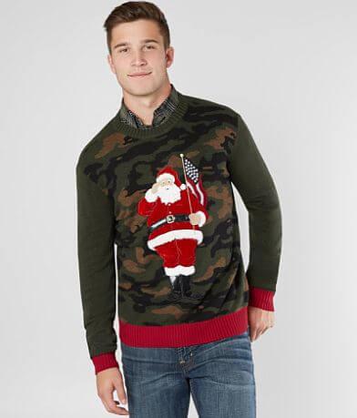 Ugly Christmas Sweater Camo Santa Sweater