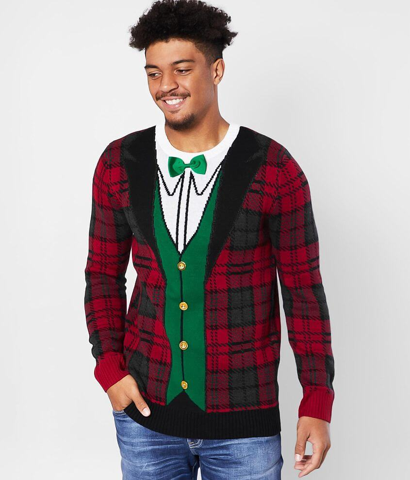 Ugly Christmas Sweater Plaid Tux Sweater front view