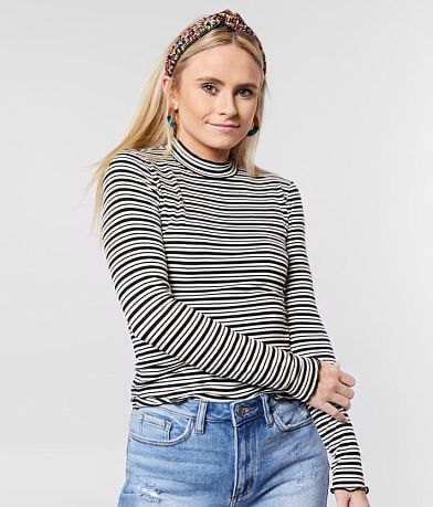 Rebellious One Striped Mock Neck Top