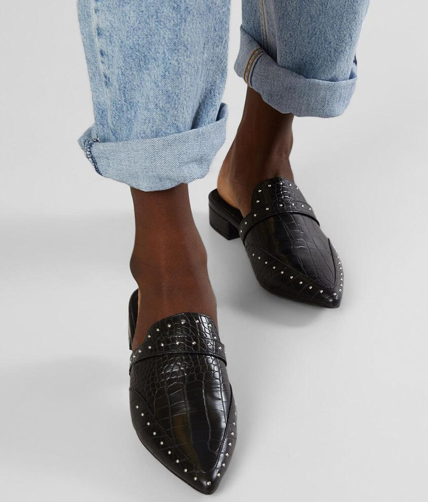 Studded faux leather slip-on shoe Cushioned leather footbed