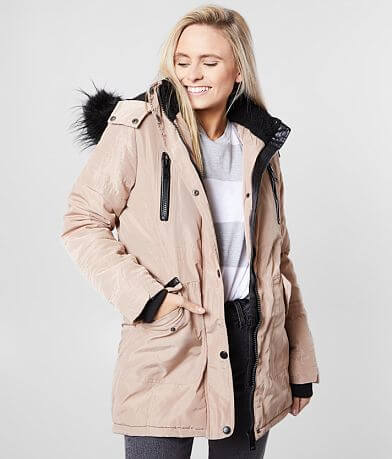 XOXO® Quilted High Low Hem Hooded Coat