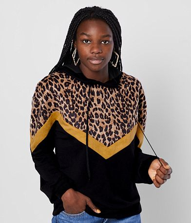 Gilded Intent Cheetah Color Block Hoodie