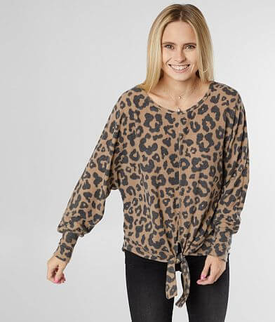 Daytrip Animal Print Front Tie Top