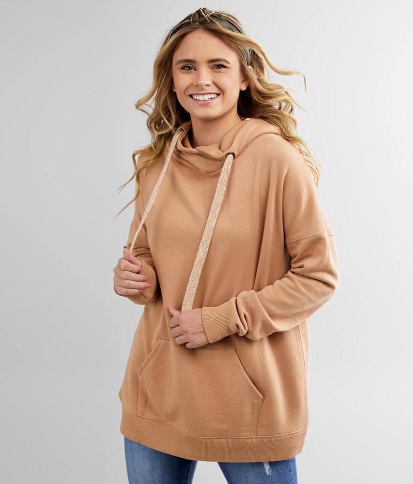 BKE Oversized Knit Hooded Sweatshirt front view