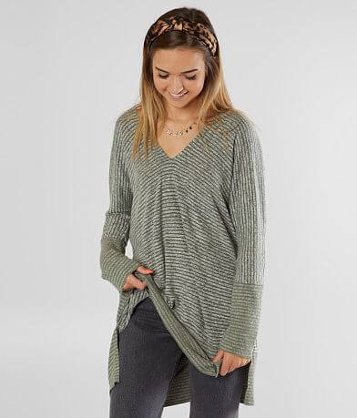 BKE Striped Brush Knit Tunic Top