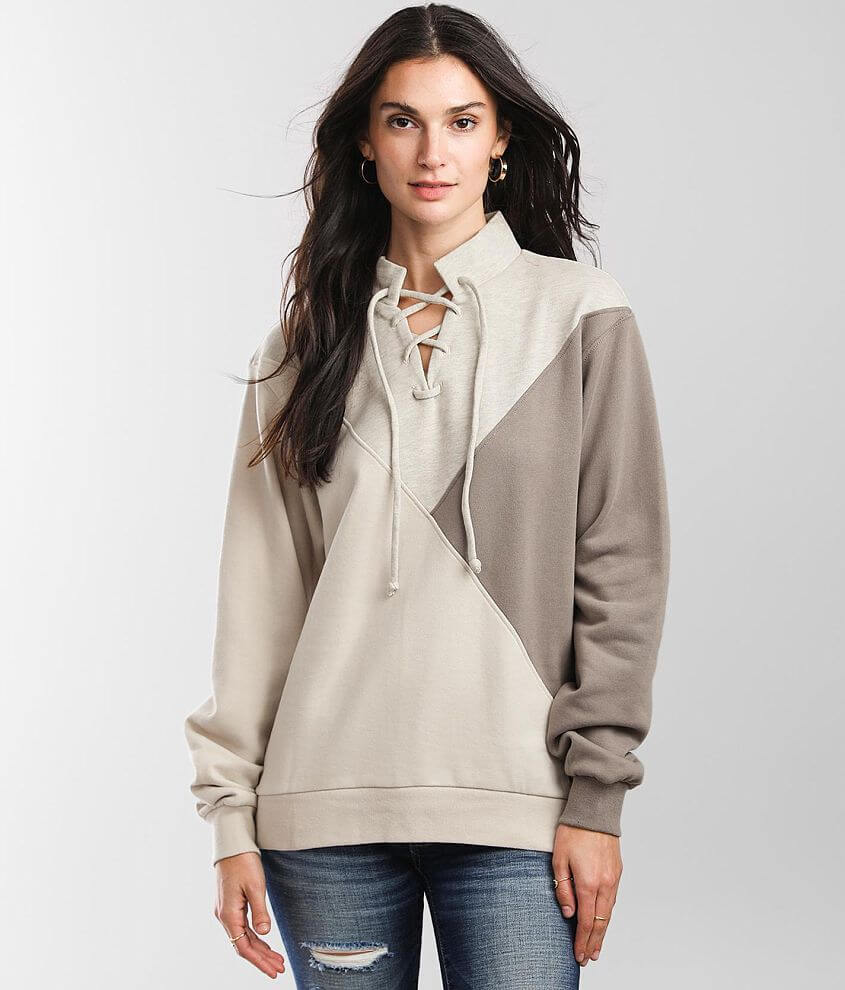 BKE Mock Neck Lace-Up Pullover front view